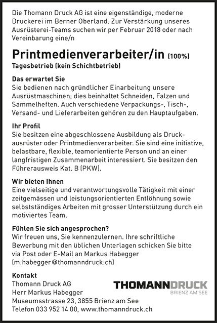 Printmedienverarbeiter/in (100%)