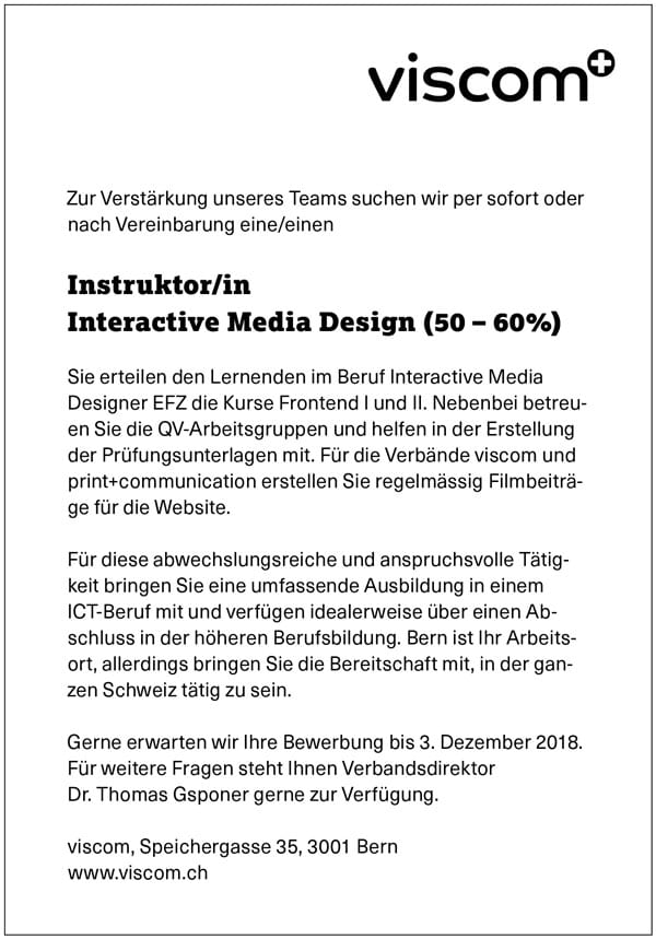 Instruktor/in Interactive Media Design (50-60%)